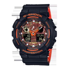 卡西欧手表 G-SHOCK CITY BATTLE系列 橘色×哑光黑街头配色 防水防震运动男表GA-100BR-1APR