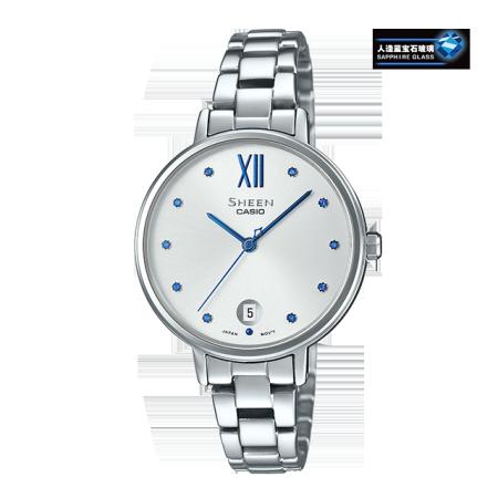 卡西欧手表 SHEEN 时尚简约风设计 施华洛世奇仿水晶刻度 人造蓝宝石玻璃镜面 防水优雅女表SHE-4530