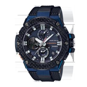 卡西欧手表 G-SHOCK G-STEEL系列 碳素纤维表圈 人造蓝宝石玻璃镜面 防水防震太阳能动力蓝牙连接运动男表GST-B100XB-2APRT