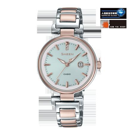 卡西欧手表 SHEEN 中国区限定 太阳能人造蓝宝石玻璃镜面 防水优雅女表 蜜桃金PEACH GOLDSHS-4524CG