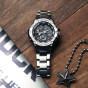 卡西欧手表 G-SHOCK  G-STEEL系列 三针三眼指针式设计表盘 防水防震太阳能蓝牙运动男表GST-B100