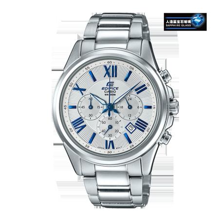 卡西欧手表 EDIFICE 罗马刻度点缀设计 人造蓝宝石玻璃镜面 计时功能 防水商务男表EFB-620D-7AVUPR