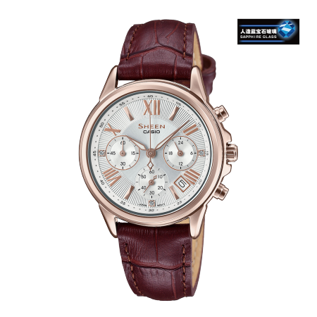 卡西欧手表 SHEEN 罗马刻度点缀设计 人造蓝宝石玻璃镜面 计时功能 防水优雅女表SHE-5520CGL-7A
