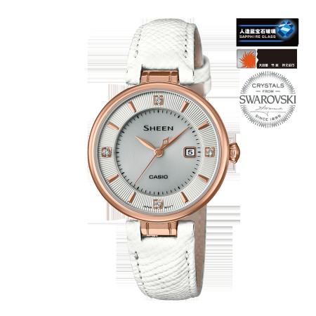 卡西欧手表 SHEEN 人造蓝宝石玻璃太阳能动力双层表盘优雅女表SHE-4523