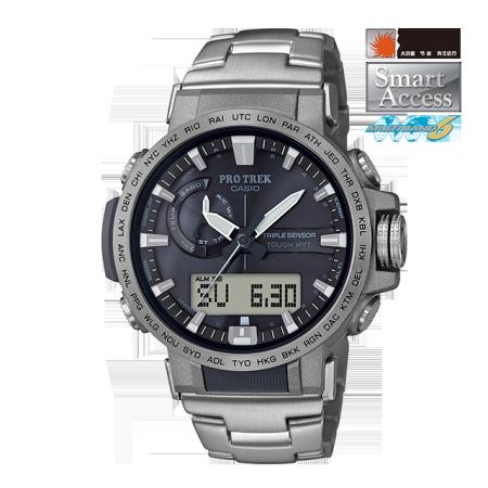 卡西欧手表 PRO TREK 三重感应器六局电波太阳能动力钛金属表带防水运动男表PRW-60T-7A