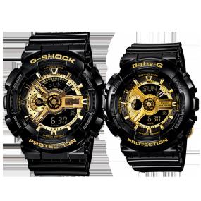 卡西欧手表 情侣对表系列 时尚运动黑金系列防水对表GA-110GB-1A&BA-110-1A