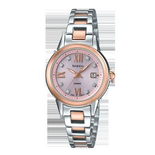 卡西欧手表 SHEEN 人造蓝宝石玻璃太阳能动力精致优雅女表SHE-4522