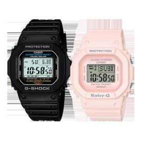 卡西欧手表 情侣对表系列 防震防水时尚运动对表G-5600E-1&BGD-560-4