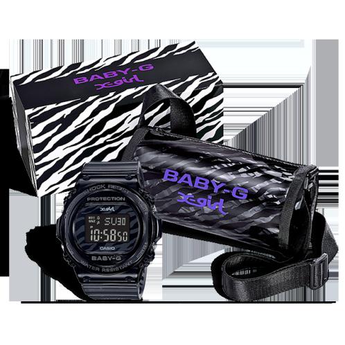 卡西欧手表 BABY-G  X-girl合作款 时尚潮流设计  特殊包装 防水防震运动女表BGD-570XG-8PR