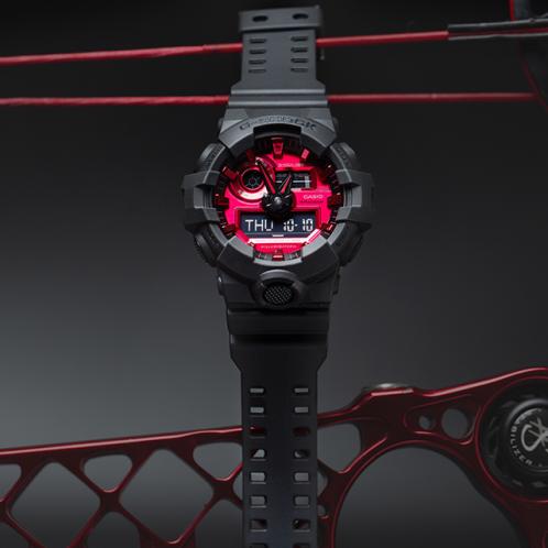 卡西欧手表 G-SHOCK  CITY BATTLE系列 红黑经典配色  防水防震运动男表GA-700AR-1APR