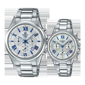 卡西欧手表 情侣对表系列 情侣对表 人造蓝宝石玻璃镜面 时尚对表 防水EFB-620D-7A&SHE-5520D-7A