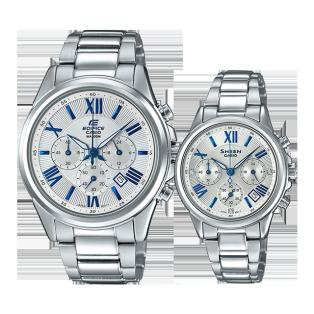卡西欧手表 对表系列 情侣对表 人造蓝宝石玻璃镜面 时尚对表 防水EFB-620D-7A&SHE-5520D-7A
