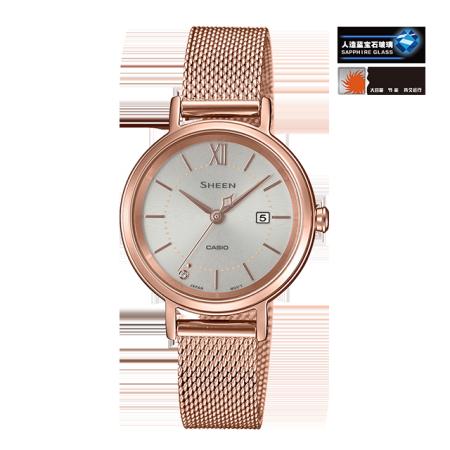卡西欧手表 SHEEN 施华洛世奇仿水晶点缀 太阳能动力  防水优雅女表SHS-D300