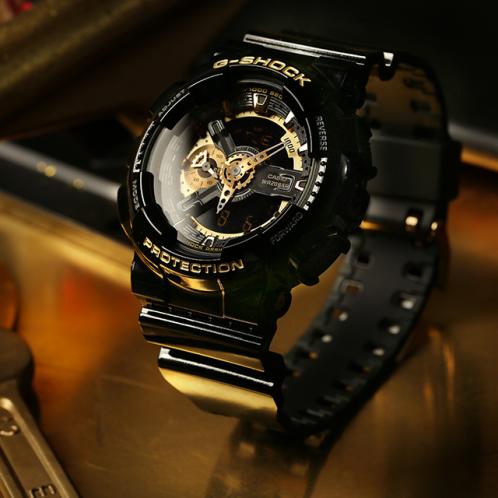 卡西欧手表 G-SHOCK  时尚潮流双显黑金系列运动手表GA-110GBX-1APR