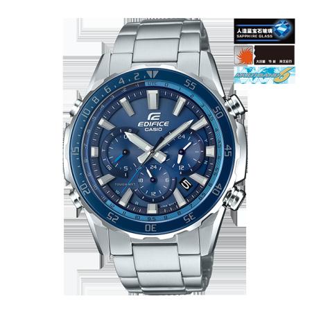 卡西欧手表 EDIFICE 运动风表盘设计 人造蓝宝石玻璃镜面 六局电波太阳能动力防水商务男表EQW-T670