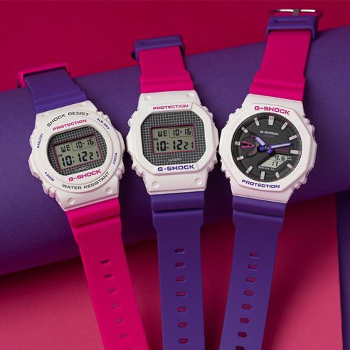卡西欧手表 G-SHOCK  25周年主题色为配色  潮流几何学图案设计  防水防震运动男表DW-5600THB-7PR