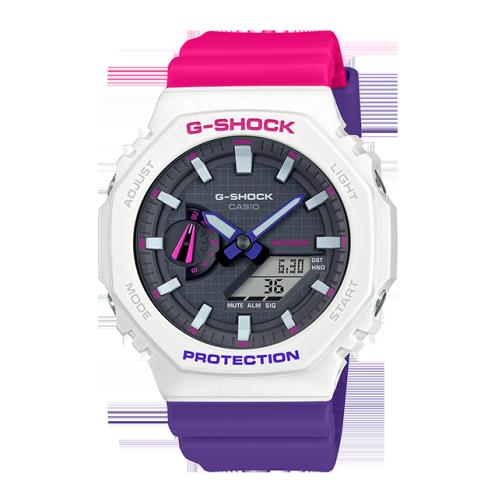 卡西欧手表 G-SHOCK  25周年主题色为配色  潮流几何学图案设计  防水防震运动男表GA-2100THB-7APR