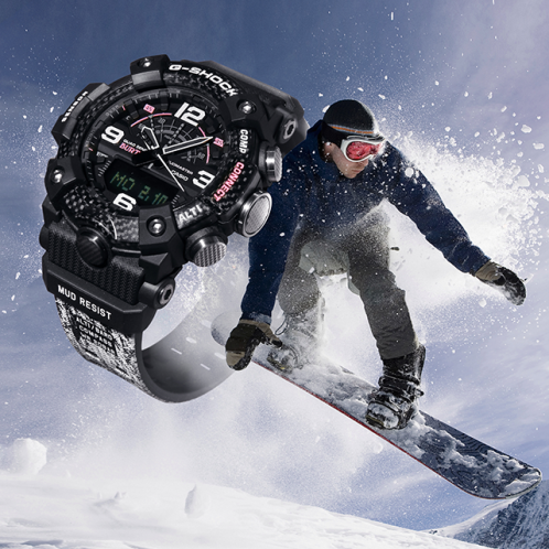 卡西欧手表 G-SHOCK  与知名滑雪品牌BURTON的合作款  雪树主题设计  防水防震运动男表GG-B100BTN-1APR