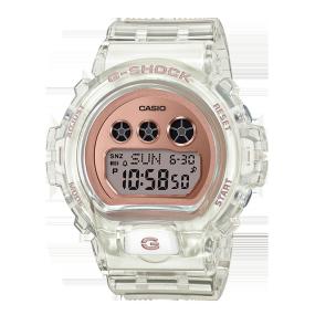 卡西欧手表 G-SHOCK 透明表款 玫瑰金表盘设计 搭配地球仪形状特殊表盒 防水防震运动女表GMD-S6900SR-7PRD