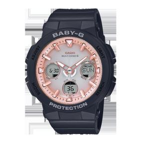 卡西欧手表 BABY-G 海滩旅行系列追加色 防震防水六局电波太阳能动力运动女表BGA-2500-1A2PR