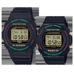 卡西欧手表 对表系列 圣诞配色主题 复古风设计 防水防震运动对表DW-5700TH-1PR&BGD-570TH-1PR