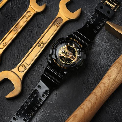 卡西欧手表 G-SHOCK  时尚潮流双显黑金系列运动手表GA-110GB-1A