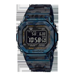 卡西欧手表 G-SHOCK 金属蓝色迷彩系列 蓝牙连接 太阳能动力 防水防震运动男表GMW-B5000TCF-2PR