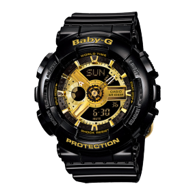 卡西欧手表 BABY-G 黑金系列时尚防水户外运动女表BA-110-1APRP 买即赠POP MART盲盒1个