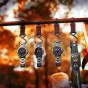 卡西欧手表 PRO TREK  火焰瀑布设计主题  防水人造蓝宝石玻璃镜面太阳能动力六局电波运动户外男表PRW-60YT-1PR